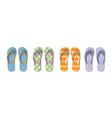 set of colored flip flops with different patterns vector image