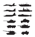 silhouette military machines support aircraft vector image