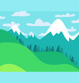 summer landscape mountain forest with coloudy sky vector image