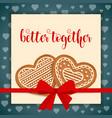 sweet love card with gingerbread hearts vector image vector image