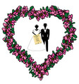 the bride and groom with their hands the ketubah vector image