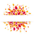 white paper stripe banner on purple autumn leaves vector image
