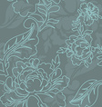 Rose linear style seamless pattern Retro floral vector image