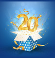 20 th years anniversary and open gift box with vector image vector image