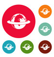 around the earth icons circle set vector image vector image