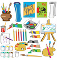 attributes of art in color vector image
