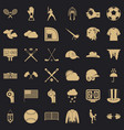 baseball player icons set simple style vector image vector image