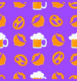 bretzel and mug beer with foam male beards and vector image vector image