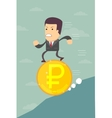 Business man running on a ruble coin vector image vector image
