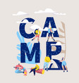 camp adventure banner type letter camping vector image
