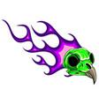 cartoon a bird skull with flames vector image vector image
