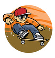 cartoon man doing skateboard jump trick vector image