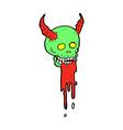 comic cartoon spooky halloween skull vector image vector image
