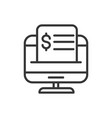 computer bill finance bank money icon thick line vector image