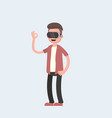 cool concept on virtual reality headset in vector image