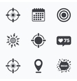 Crosshair icons Target aim signs symbols vector image vector image