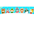 cute kids and animal in christmas background vector image vector image