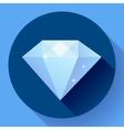 Diamond icon Flat design with long shadow vector image vector image