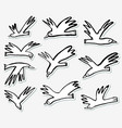 doodle birds stickers set collection with funny vector image