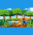 farming activities on the park with animals vector image