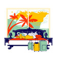 female character hotel lodger lying in bed vector image vector image
