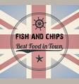 fish and chips vintage menu design stamp vector image