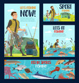 fisherman fishing fish with rod net and boat vector image vector image