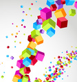 Flying cube colorful bright wave perspective vector image vector image