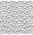 funny kitten hand drawn seamless pattern black vector image