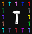 hammer icon sign Lots of colorful symbols for your vector image vector image
