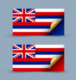 hawaiian flag with golden curled corner on grey vector image vector image