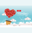 hearts air balloon to valentine celebration vector image vector image