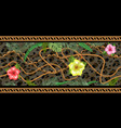 horizontal chains seamless with tropical flowers vector image vector image