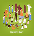 isometric religious cult background vector image vector image