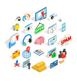 it technology icons set isometric style vector image vector image
