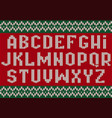 knitted font christmas alphabet for party sweater vector image vector image