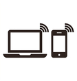 Laptop mobile phone and wireless network icon vector image vector image