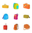 luggage icons set cartoon style vector image vector image