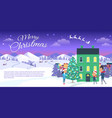 merry christmas on city and blue sky background vector image vector image