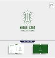 nature gear logo farm industry line icon symbol vector image
