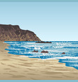 ocean coast with rock vector image vector image