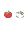 organic tomato monochrome and colorful icon set vector image