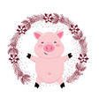 pig with leaves arrangement vector image vector image