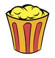 popcorn in striped bucket icon cartoon vector image vector image
