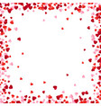 red and pink paper hearts frame background hearts vector image vector image