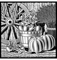 Retro barn with harvest black and white vector image vector image