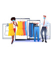 salesman in mask showing clothes to female vector image vector image