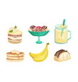 set banana desserts and drinks vector image vector image