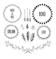 set boho style frames and hand drawn elements vector image