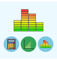 Set icons with calculator indicator chart vector image vector image
